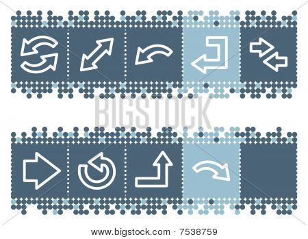Blue dots bar with arrows web icons set 1