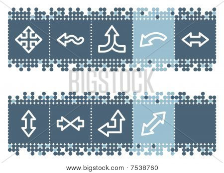 Blue dots bar with arrows web icons set 2