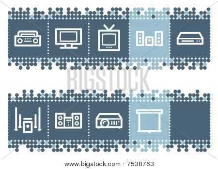 Blue dots bar with audio video web icons