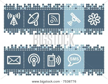 Blue dots bar with communication web icons