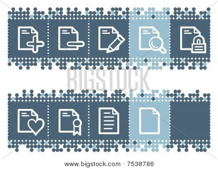 Blue dots bar with document web icons set 2