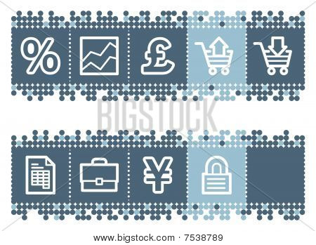 Blue dots bar with e-business web icons