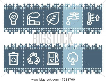 Blue dots bar with ecology web icons set 1