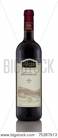 One Bottle Of Red Dry Wine Herodion Merlot 2010