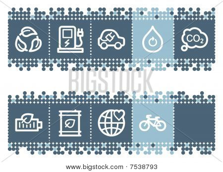 Blue dots bar with ecology web icons set 4