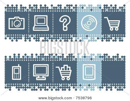 Blue dots bar with electronics web icons set 1