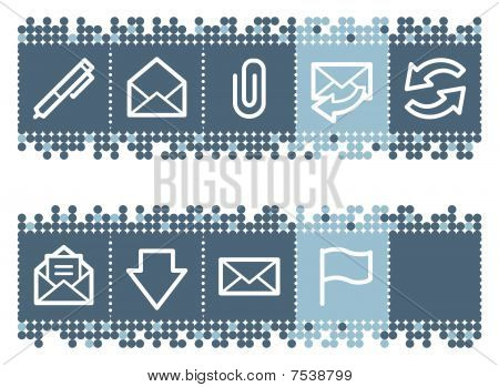 Blue dots bar with e-mail web icons set 1