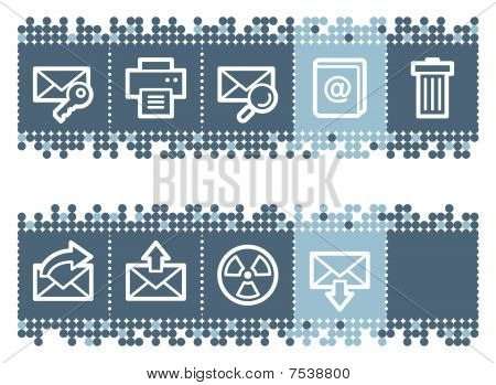 Blue dots bar with e-mail web icons set 2