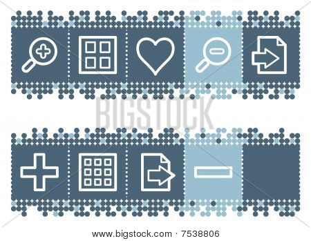 Blue dots bar with image viewer web icons set 1