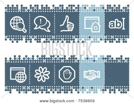 Blue dots bar with internet web icons set 1