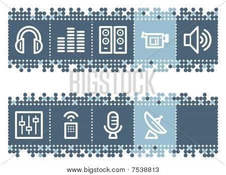 Blue dots bar with media web icons