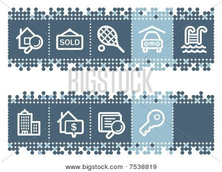 Blue dots bar with real estate web icons