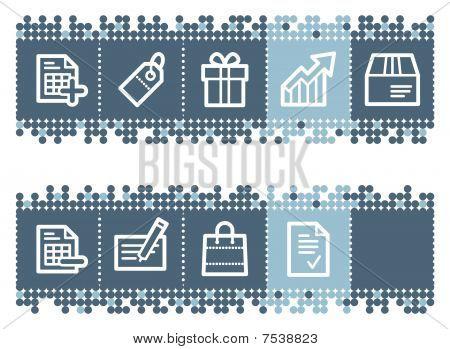 Blue dots bar with basic shopping icons set 1