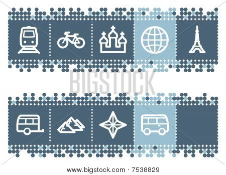 Blue dots bar with travel web icons set 2
