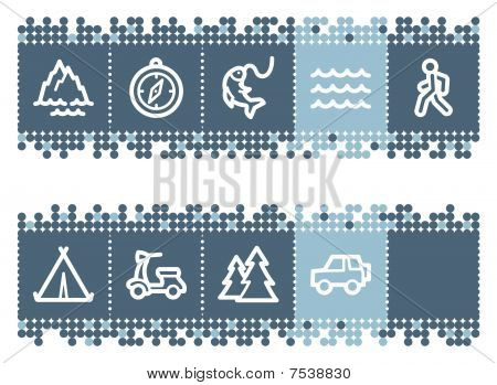 Blue dots bar with travel web icons set 3