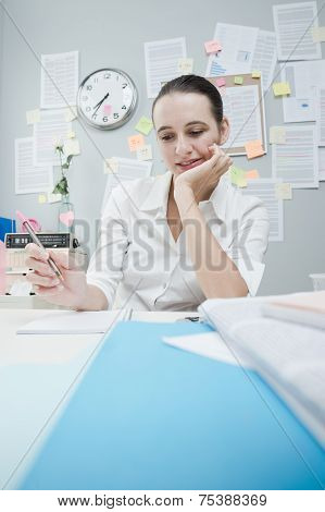 Office Clerk Writing A Note