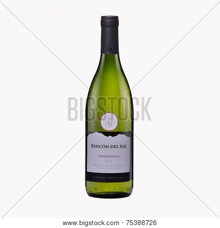 Bottle Of Dry White Wine Rincon Del Sol Chardonnay 2010
