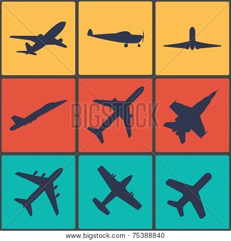 Vector flat airplane icon set, colourful 9 buttons