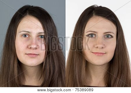 Photo of young woman before and after make up
