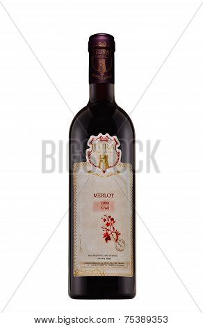 One Bottle Of Red Dry Wine Tura Merlot 2008