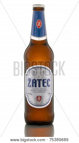 One Bottle Of Bright Lager Beer Zatec Blue Label