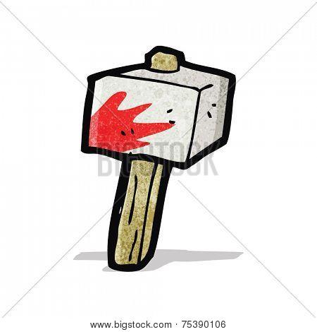 cartoon bloody stone hammer