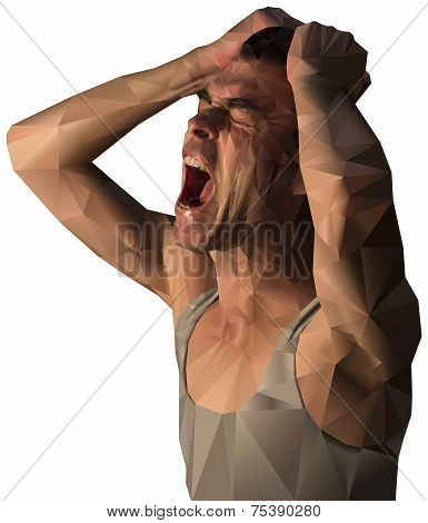 Frustrated man scream design with polygons