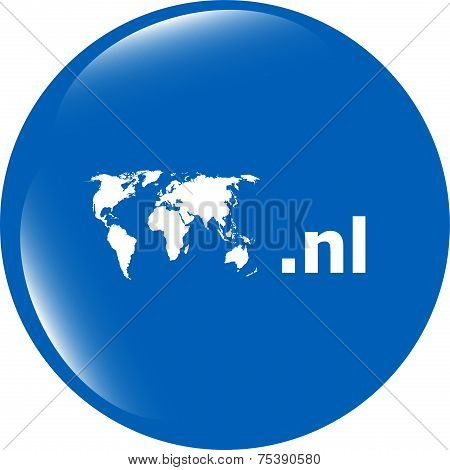 Domain Nl Sign Icon. Top-level Internet Domain Symbol With World Map