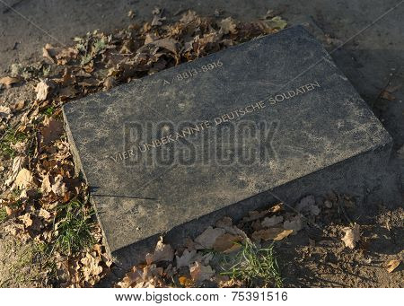 Tombstone For Four Unknow German Soldiers In Langemark.