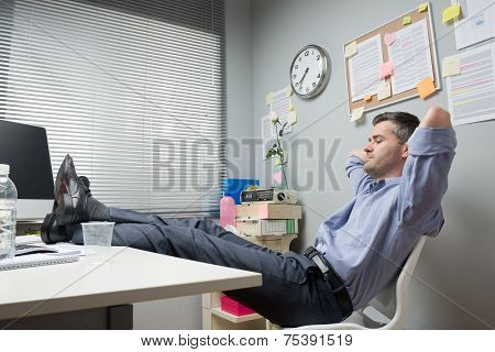 Lazy Office Worker Feet Up