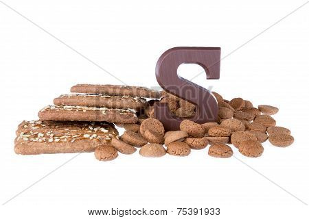 Chocolate Letter, Speculaas And Ginger Nuts, Dutch Sweets At 5 December