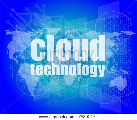Words Cloud Technology On Digital Screen, Information Technology Concept