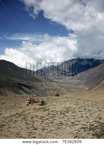 Improvised Wind Shelter In Dry Himalayas