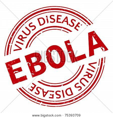 Red stamp with Ebola concept text on white background