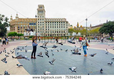 Pigeons And Tourists In Catalonia Plaza, Barcelona