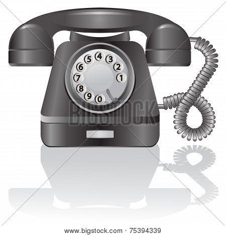 Retro telephone. Vector