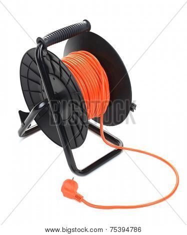 Extension electric cable reel isolated on white background