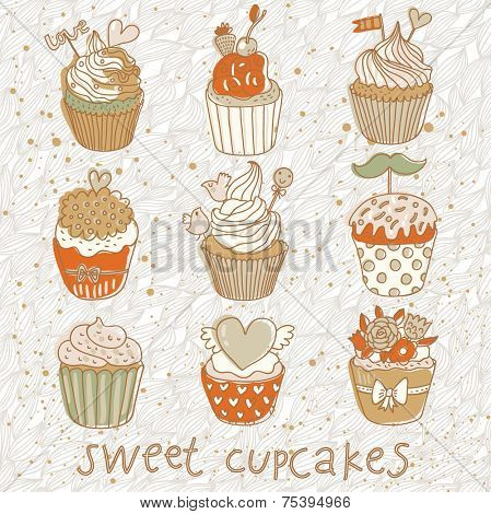Sweet cupcakes vector set. Cartoon tasty cupcakes in pastel colors