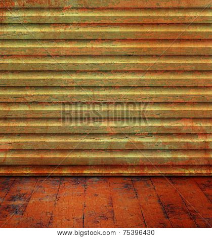 Grunge room with wood background texture and old floorboard