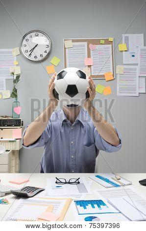 Soccer Fan At Workplace