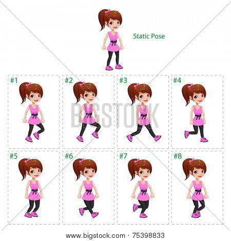 Animation of girl walking. Eight walking frames + 1 static pose. Vector cartoon isolated character/frames.