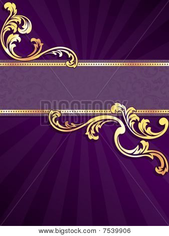 Purple vertical banner with gold filigree