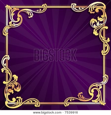 Purple frame with gold filigree