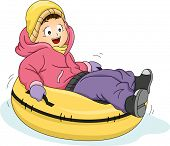 stock photo of snow-slide  - Illustration Featuring a Little Girl Riding a Snow Tube - JPG