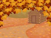picture of log cabin  - Background Illustration Featuring a Log Cabin in Autumn - JPG