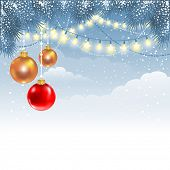 image of fir  - Christmas winter background with fir branches - JPG