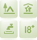 image of rg  - Various camping icons: Camp site, Tap & Sink, for 18+ years only, 