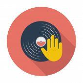 image of disc jockey  - Vinyl disc whit hand - JPG