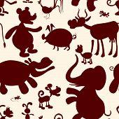 stock photo of behemoth  - Seamless pattern of stylized animals - JPG