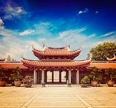 stock photo of shan  - Vintage retro effect filtered hipster style travel image of gates of Lian Shan Shuang Lin Monastery - JPG